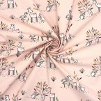 Printed cotton with animals - pink background