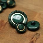 Resin button - green and gold