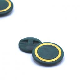 Round resin button - green and gold