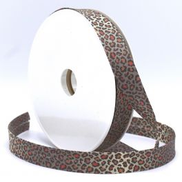 Bias binding with leopard print - red
