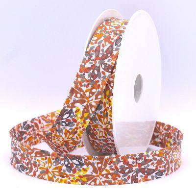 Bias binding with leaves - orange
