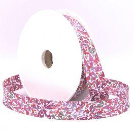 Bias binding with leaves - pink