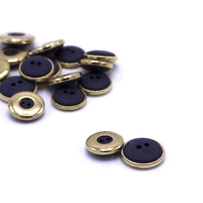 Round resin button - plum and gold