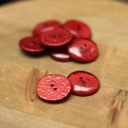 Metalised round button 22mm - red