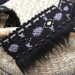 Ribbon with fringes in alcantara - black