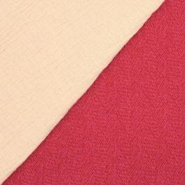 Tissu en laine et polyester rose et rouge