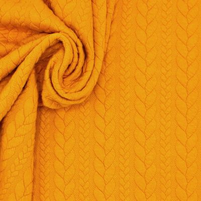 Jersey fabric with twisted pattern - ochre
