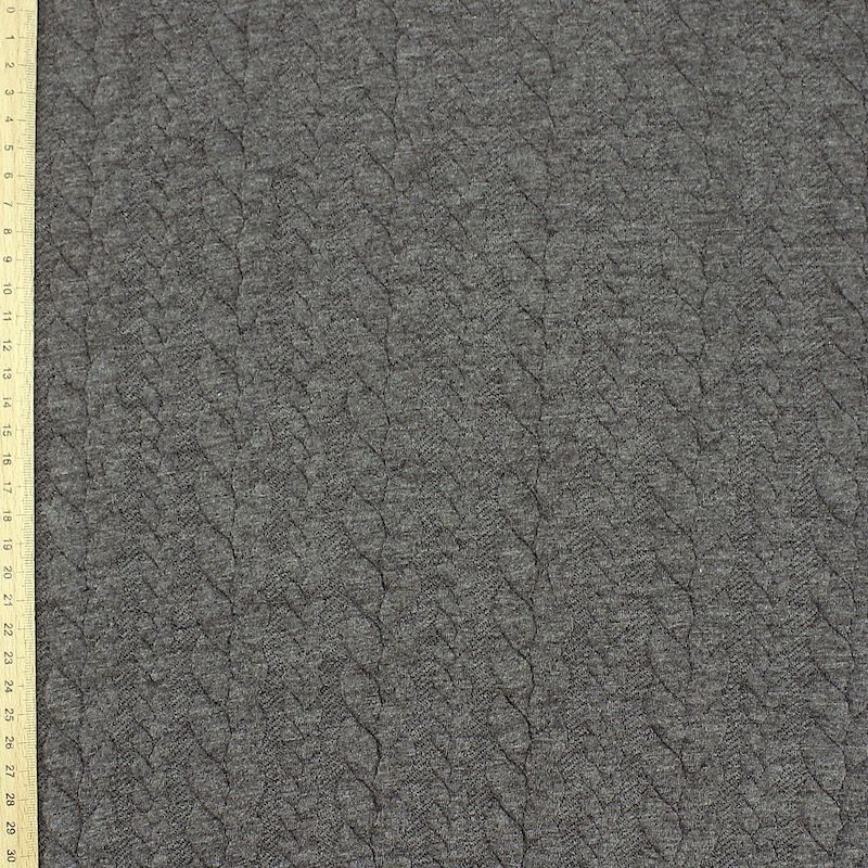 Jersey fabric with twisted pattern - grey