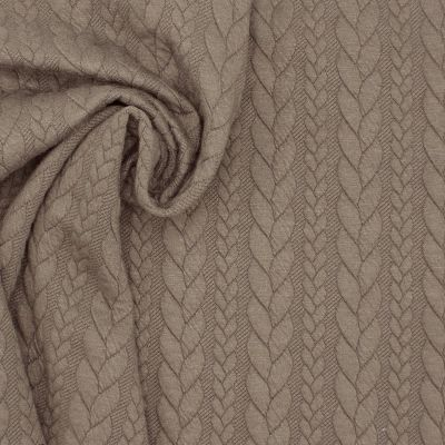 Jersey fabric with twisted pattern - taupe