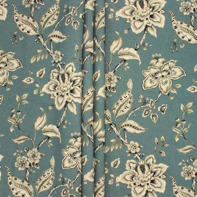 Gevlochten canvas met bloemen - appelblauwzeegroen