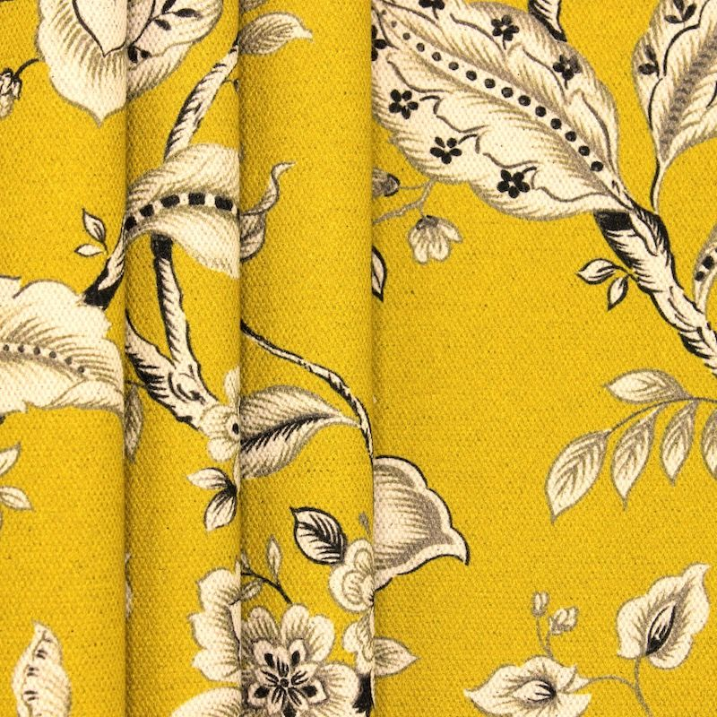 Gevlochten canvas bedrukt met bloemen - mosterdgeel