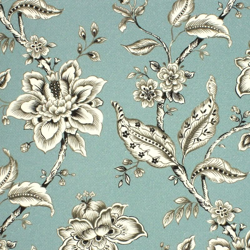 Gevlochten canvas bedrukt met bloemen - saliegroen