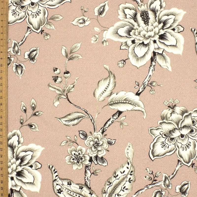 Gevlochten canvas bedrukt met bloemen - poederroos