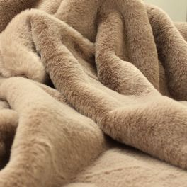 Faux fur with smooth fur - taupe