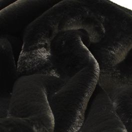 Faux fur with smooth fur - black