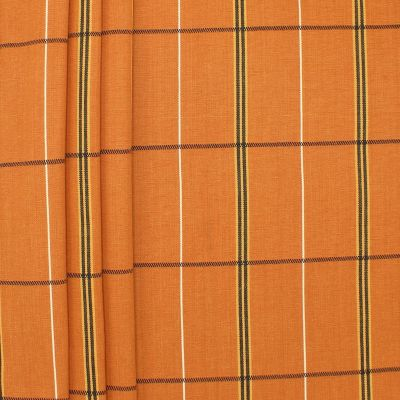 Checkerd upholstery fabric - burnt orange