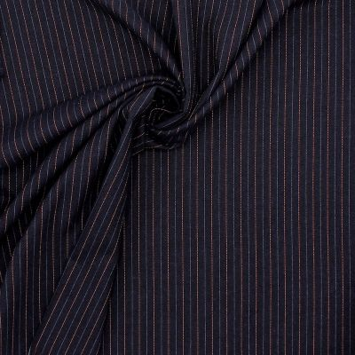 Extensible fabric with thin stripes - navy blue