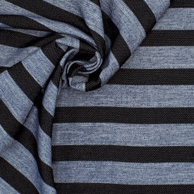 Fabric with blue and black stripes