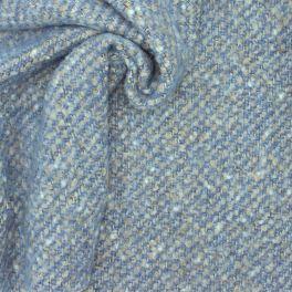 Stof in wol met aspect van lussen - blauw