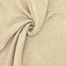 Tissu laine beige avec fil doré