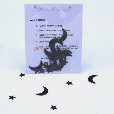 Mini opstrijkbare maan - zwart