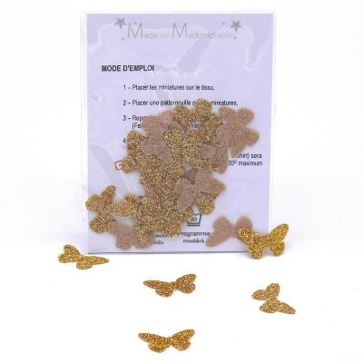 Mini opstrijkbare vlinder - goud