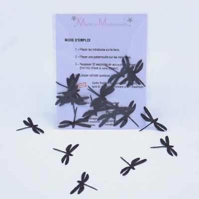 Iron-on patch dragonfly - black