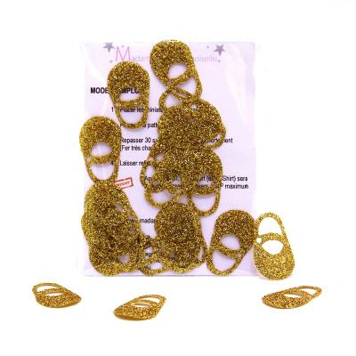 Iron-on patch baby slipper - gold