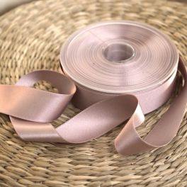 Double-sided satin ribbon old pink with a grey appearance