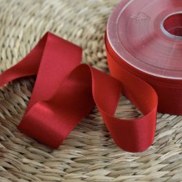 Double-sided satin ribbon cherry red