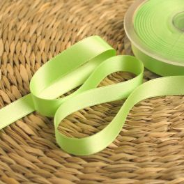 Double-sided satin ribbon almond green
