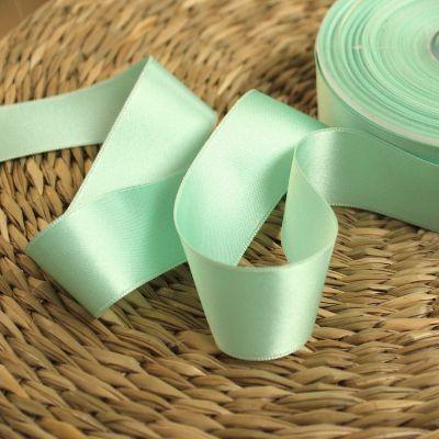 Double-sided satin ribbon pastel mint green