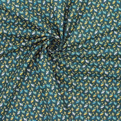 Cotton with pattern - prussian blue background