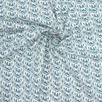 Printed cotton with foliage - prussian blue