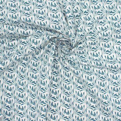 Tissu en coton imprimé végétal prusse