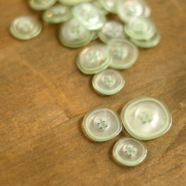 Transparent resin button - sea green