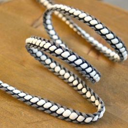 Braided braid trim - grey and navy blue