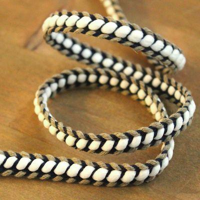Braided braid trim - beige and navy blue