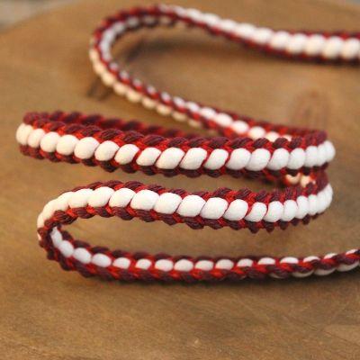 gevlochten biesband - rood en bordeaux