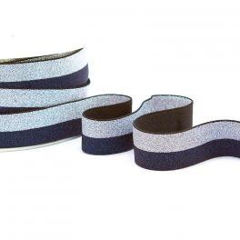 Tweekleurige elastiek - marineblauw en zilver