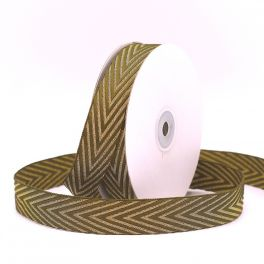 Braid trim with herringbone pattern - khaki and gold