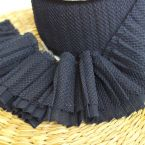Pleated ribbon for collar and sleeve - navy blue