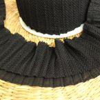 Geplooid lint voor kraag en mouw - zwart