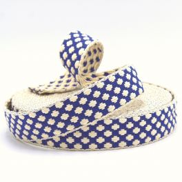 Cotton strap with cross pattern - blue