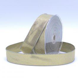 Ripsband - lichtgrijs en goud