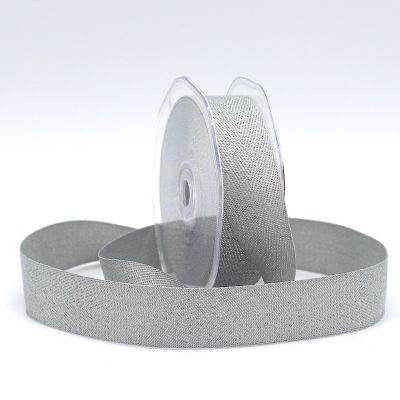 Ribbon with herringbone pattern - grey and silver
