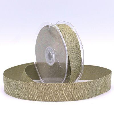 Ribbon with herringbone pattern - khaki and silver