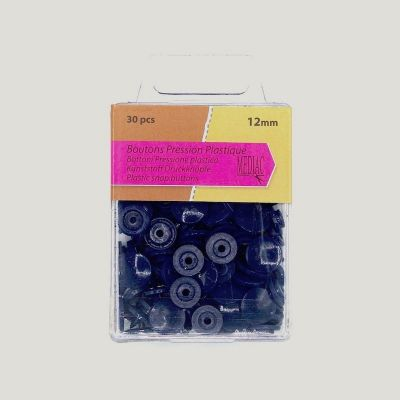 Box with 30 snap buttons - navy blue