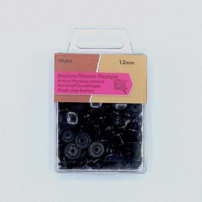 Boîte de 30 boutons pressions noirs