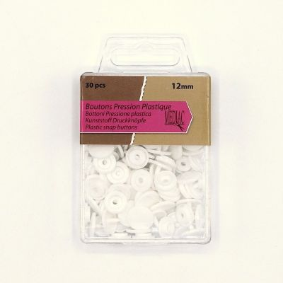 Box with 30 snap buttons - white